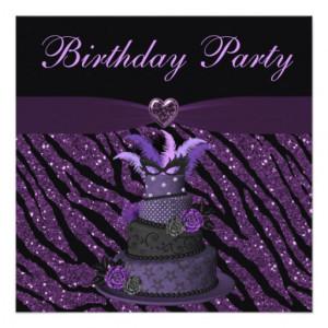 Purple Diva Cake & Printed Zebra Glitter Birthday Invitations - Zazzle ...