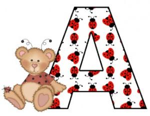Ladybug Bear Alphabet Baby Nursery Wall Stickers. Great for names, etc ...