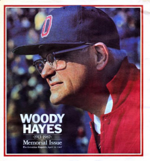 THE COVER OF THE WOODY HAYES MEMORIAL ISSUE PUBLISHED BY THE DISPATCH
