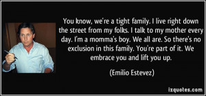 ... exclusion in this family. You're part of it. We embrace you and lift