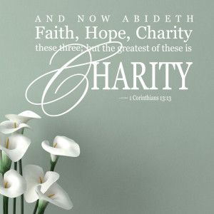 Faith Hope Charity Religious Quote Wall Sticker 1