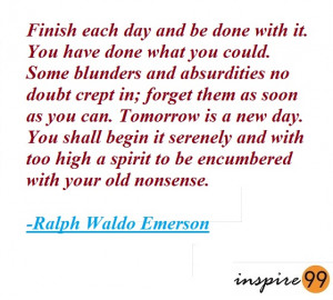 tomorrow is a new day quotes, ralph waldo emerson quotes on the past ...