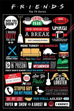 Friends TV Series Infographic Poster 61x91cm NEW Central Perk Show ...