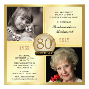 Gold 80th Birthday Invitations Then & Now 2 Photos