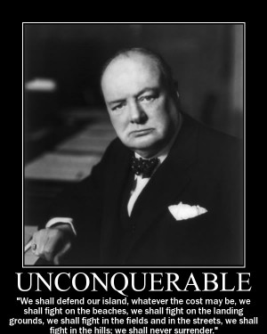 Winston Churchill never surrender