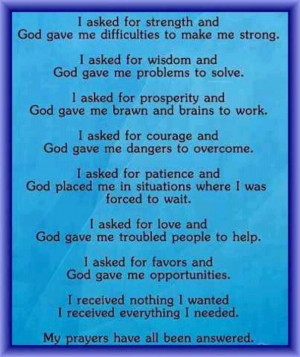 Answered Prayers. Sometimes God doesn't answer you the way you want ...