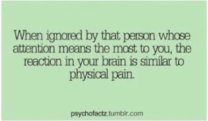 Being ignored = physical pain
