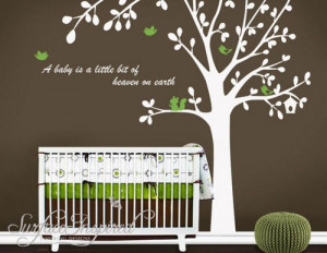 cute bird tree Custom name Quote leaf leaves birds home Art Decals ...