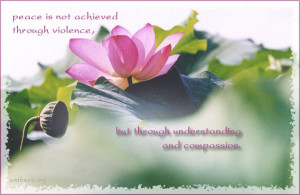 ... achieved through violence, but through understanding and compassion