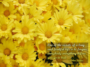 ... Life Journey: One Of The Secrets Of A Long Life Quote With Sun Flowers
