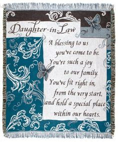 Daughter In Law Inspirational Tapestry Throw More