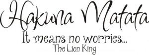 Hakuna Matata - Wall Art Disney Decal Lion King Lettering