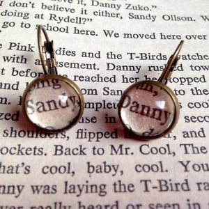 Details about KITSCH UNIQUE DANNY SANDY GREASE BOOK QUOTE EARRINGS