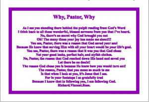 Pastor Appreciation Quotes Why, pastor, why mini