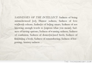 Sadness of the intellect sadness of being misunderstood
