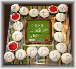Best Wishes cupcakes with chalkboard cake