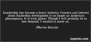 ... concern and interest about leadership development is no warren bennis