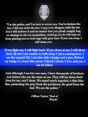 We stand watch together, a thin blue line, protecting the prey from ...