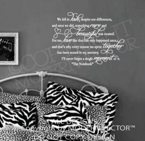Details about Notebook Movie Quote WE FELL IN LOVE Vinyl Wall Decal
