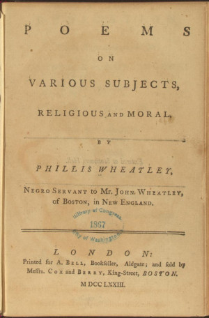 Phillis Wheatley Poems On Various Subjects