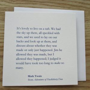 Huckleberry Finn - Quote Card - Friendship Card - Birthday Card (ED09)
