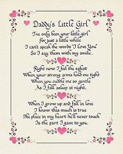 DADDY'S LITTLE GIRL - Calligraphy Poem Gift for Birthdays,Chri stmas ...