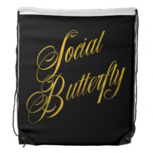 Social Butterfly Quote Faux Gold Foil Metallic Drawstring Backpack