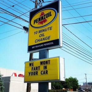 10 minute Oil Change #Car, #Fart, #Gas