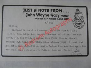 Best wishes John Gacy