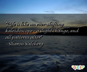 Life is like an ever- shifting kaleidoscope - a slight change, and all ...
