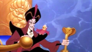 ... JAFAR: Yaaah! IAGO THE PARROT: Kersplat! JAFAR: I love the way your