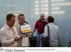 Meanwhile at vienna airport: a taxi driver is waiting for…