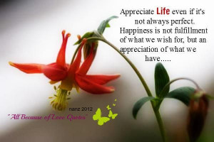 Appreciate Life Even If It's Not Perfect