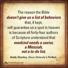 Andy Stanley, Since Nobody's Perfect . . . More