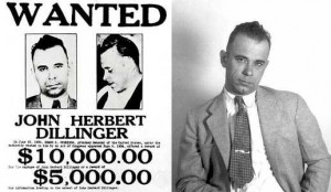 John Dillinger and his wanted poster