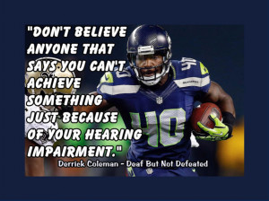 Seahawks Derrick Coleman Deaf Hearing-Impairment Quote Poster Wall Art ...