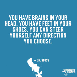 You have brains in your head. You have feet in your shoes. You can ...