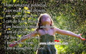 IdleHearts / Quotes / I Am A Daughter Of God