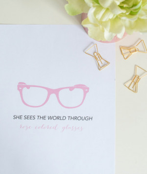 quote, glasses print, inspirational quote, office art, rose colored ...