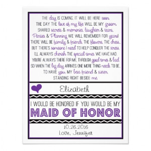 Will you be my Maid of Honor? Purple/Black Poem Personalized ...