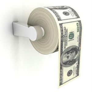 100 Dollar money toilet paper roll
