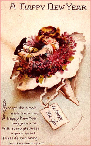 Vintage Happy New Year Card with Rhyming New Years Poem