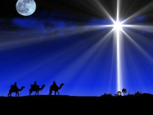 The three wise men followed a bright shining star
