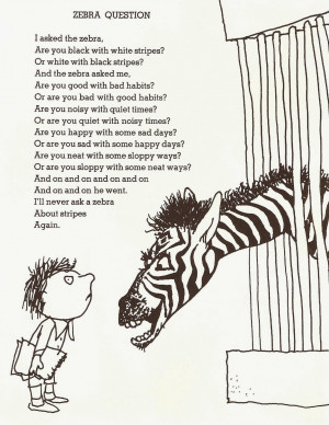 Zebra Question by Shel Silverstein
