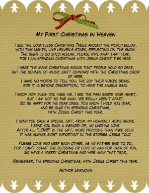 My First Christmas in Heaven A phenomenal poem for those of us who ...