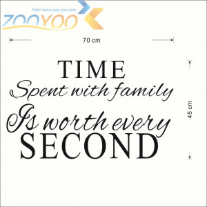 ... ZooYoo art vinyl wall stickers quote time spent with family (ZY-8218B