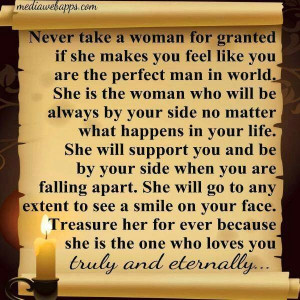 Never take a women for granted