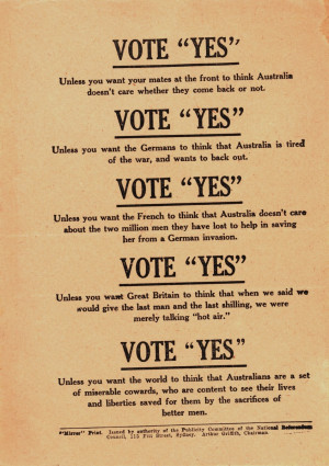 Black-and-white leaflet encouraging people to vote 'yes' for ...