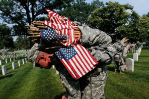 American Flags Placed At Graves At Arlington Nat'l Cemetery For ...