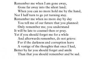 "Christina Rossetti, ""Remember"""